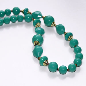 Teal and gold beaded necklace